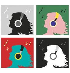 profile with headphones pop art vector image vector image