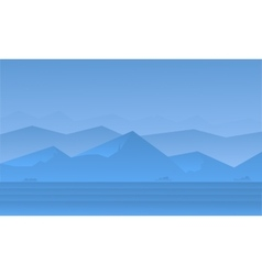 Silhouette of blue mountain landscape vector image vector image