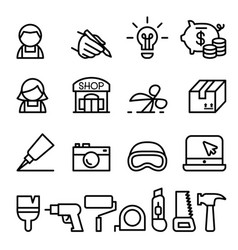 Craftsman diy craft product design icon set in vector