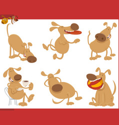 cute dog cartoon characters vector image vector image