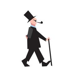 elegant victorian gentleman in tuxedo and cylinder vector image