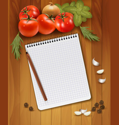 Fresh vegetables and spices on a wooden background vector image
