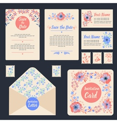 Greeting Cards Set with Flowers Stationary Wedding vector image