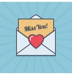 Miss You letter with heart shape in flat style vector image