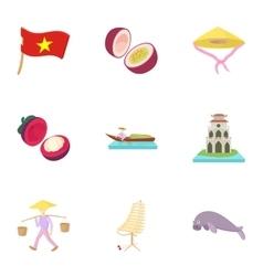 Vietnam icons set cartoon style vector image