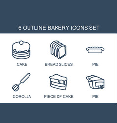 6 bakery icons vector