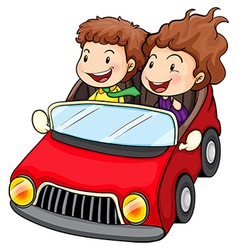 A girl and a boy riding in the red car vector image