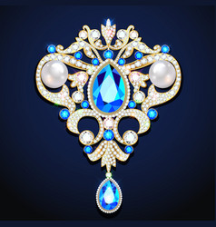 A gold jewelry brooch pendant with precious vector