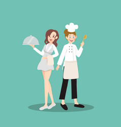 a pair of profession including chef and waitress vector image