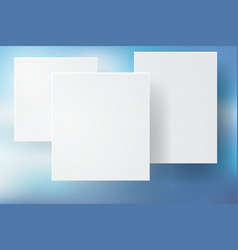 abstract blue bokeh background with white square vector image vector image