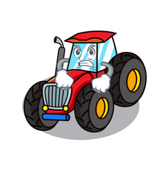 Angry tractor mascot cartoon style vector