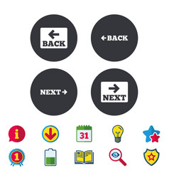 Back and next navigation signs arrow icons vector