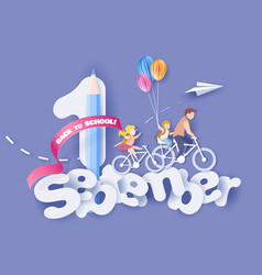 back to school first september children bicycling vector image