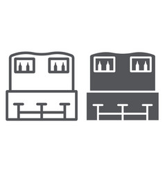 bar counter line and glyph icon drink and pub vector image