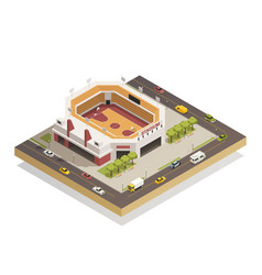 basketball arena stadium isometric composition vector image