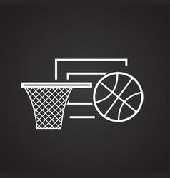 basketball ball with basket thin line on black vector image