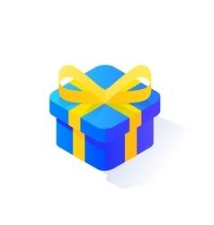 Blue Present Box Isometric Icon vector image
