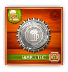 Bottle cap with beer mug vector image