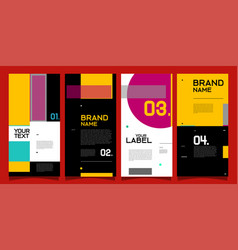 Brand label banner and social media post layout vector