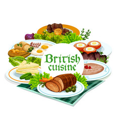 Britain cuisine english meals round frame vector