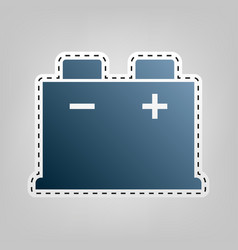 car battery sign blue icon with outline vector image