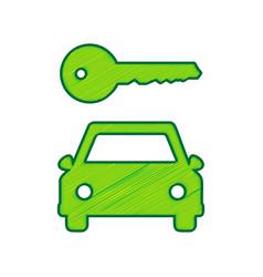 Car key simplistic sign lemon scribble vector