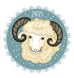 Card with blue-green snowflake and little cute ram vector image