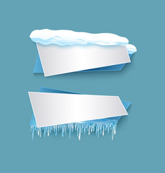 Cartoon realistic winter banner set vector