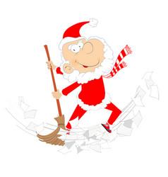 Cartoon santa claus tidying up vector