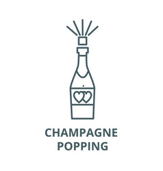 champagne popping line icon champagne vector image