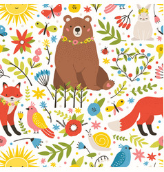 childish seamless pattern with adorable animals vector image