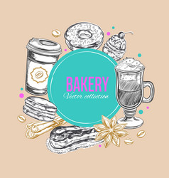 coffee and bakery label 3 vector image