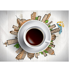coffee cup concept - city doodles with cofee mug vector image