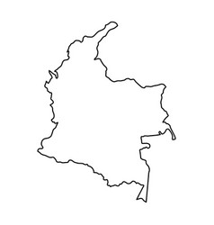 Colombia map of black contour curves of vector