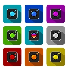 Colorful Camera Icons vector