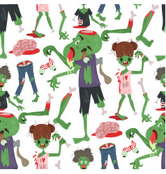 colorful zombie scary cartoon halloween magic vector image