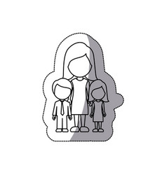 Contour woman her children icon vector