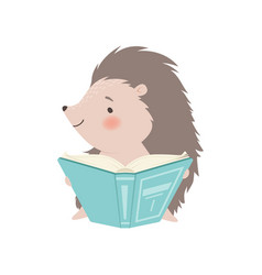 Cute hedgehog sitting and reading book adorable vector