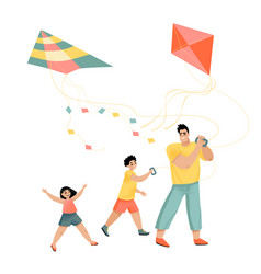 Dad son and daughter fly kites fathers day vector