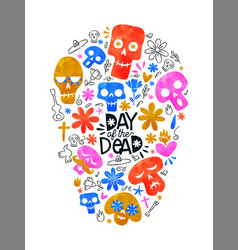 day dead colorful mexican skull shape icons vector image