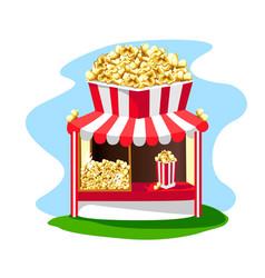 Delicious and bright popcorn shop vector
