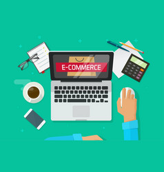 E-commerce store on laptop person working on vector