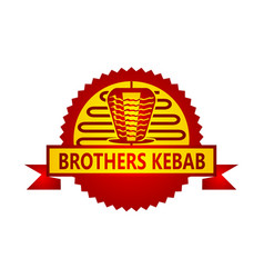 Emblem kebab icon template vector
