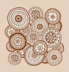 ethnic henna mehndi ornament indian background vector image