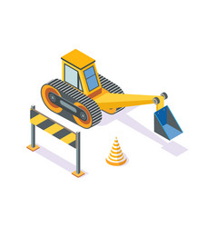 excavator road plastic cone and wooden stand vector image