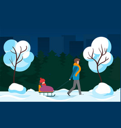family strolling in city park child on sleigh vector image