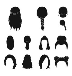 female hairstyle black icons in set collection for vector image