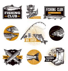 Fishing logo emblems vector