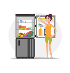 fitness cartoon girl at fridge with healthy food vector image