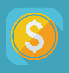 Flat modern design with shadow coin currency vector